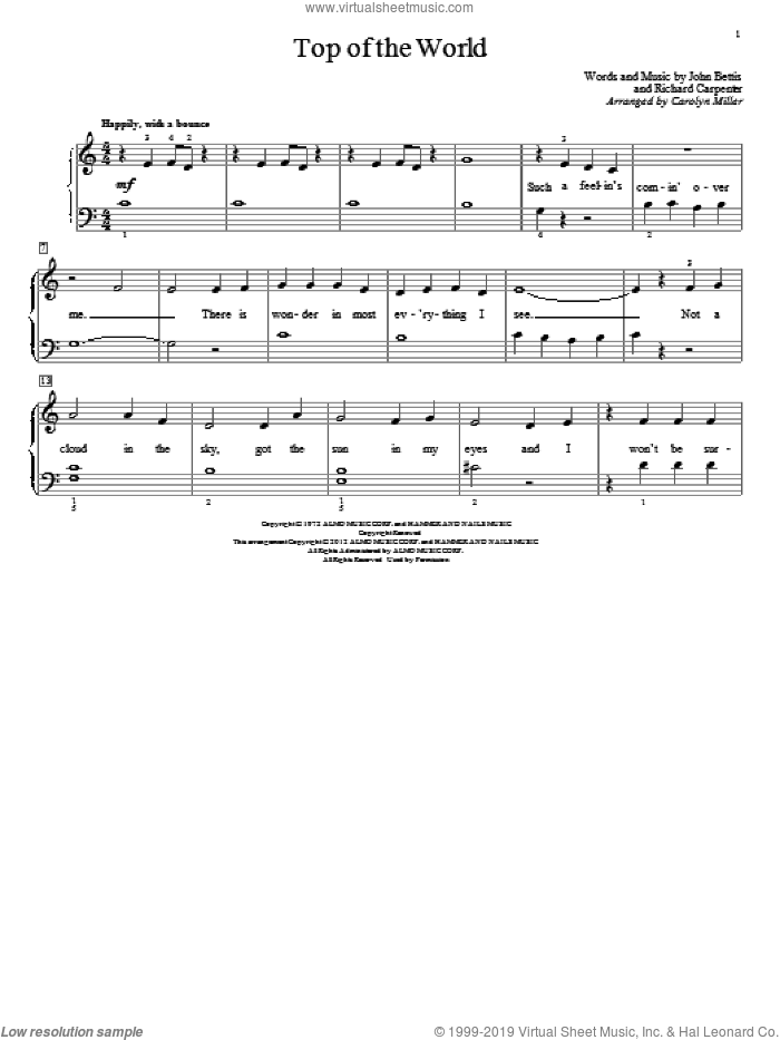 Top Of The World sheet music for piano solo (elementary) by Carolyn Miller, Carpenters, John Thompson, John Bettis and Richard Carpenter, beginner piano (elementary). Score Image Preview.