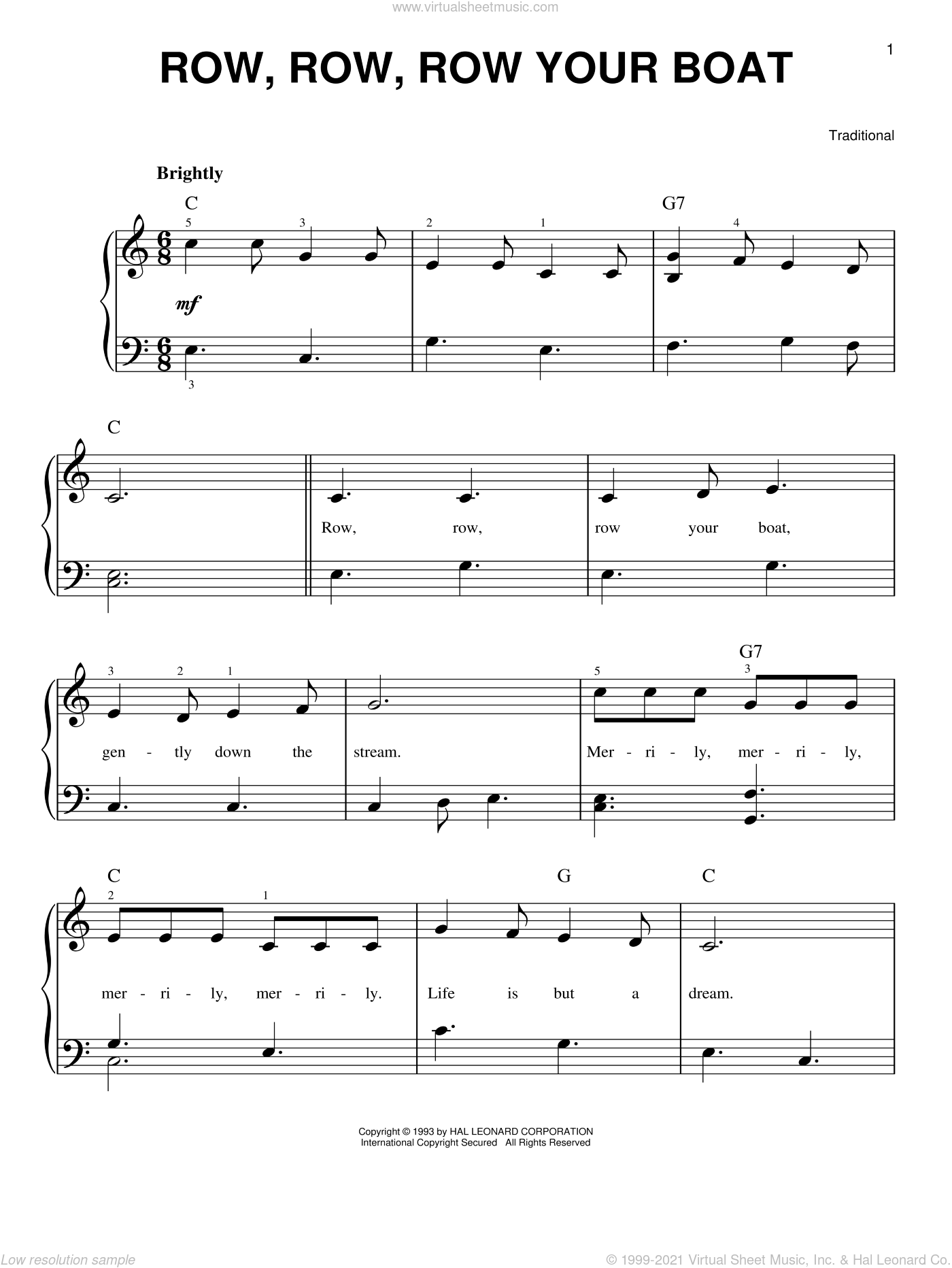 Row, Row, Row Your Boat sheet music for piano solo, easy