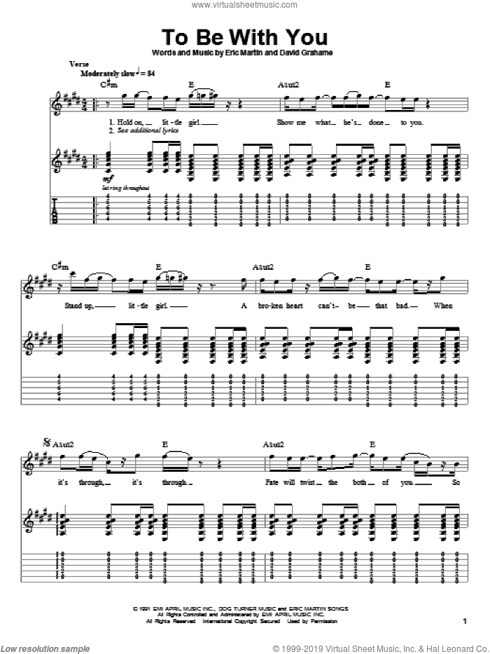 To Be With You sheet music for guitar (tablature, play-along) by Eric Martin and Mr. Big. Score Image Preview.