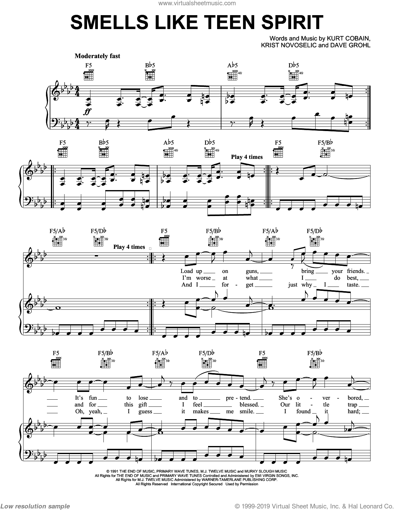 Smells Like Teen Spirit sheet music for voice, piano or guitar by Nirvana, Chris Novoselic, Dave Grohl and Kurt Cobain, intermediate skill level