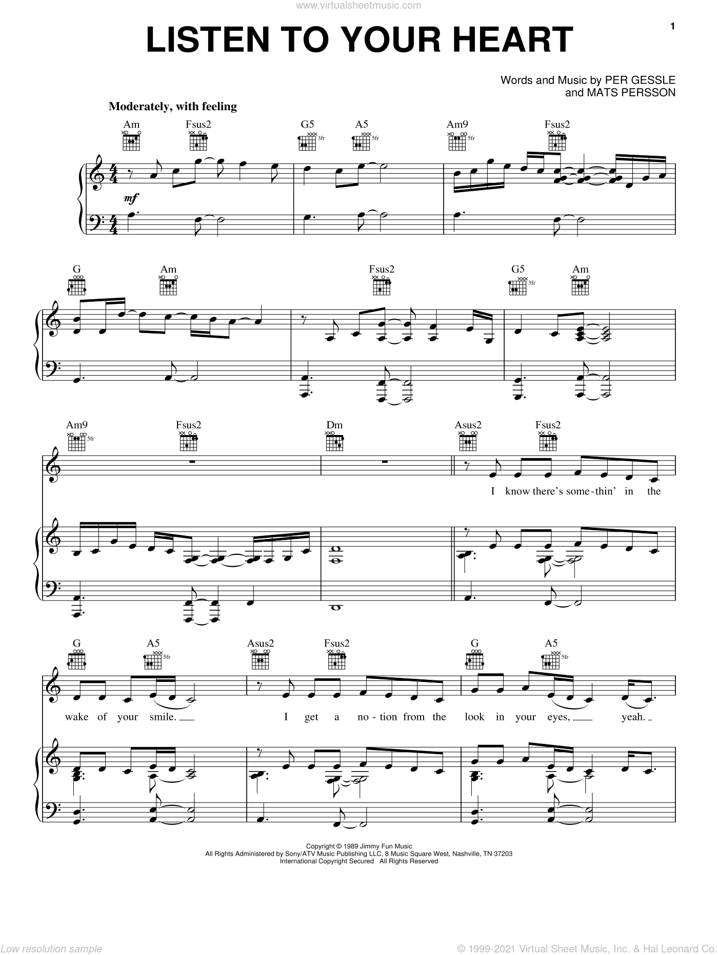 Listen To Your Heart sheet music for voice, piano or guitar by D.H.T., Roxette, Mats Persson and Per Gessle, wedding score, intermediate skill level