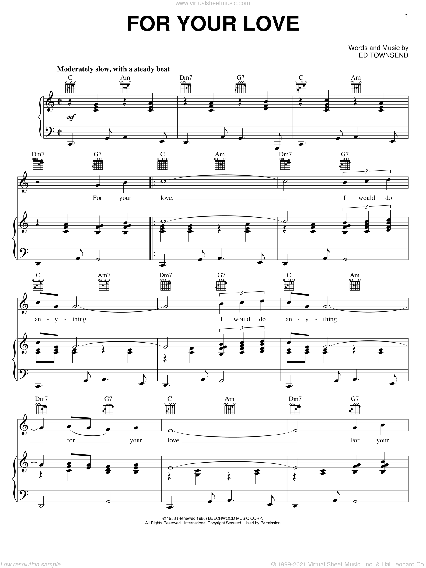 For Your Love sheet music for voice, piano or guitar by Ed Townsend, Gwen McCrae and Peaches & Herb, intermediate. Score Image Preview.