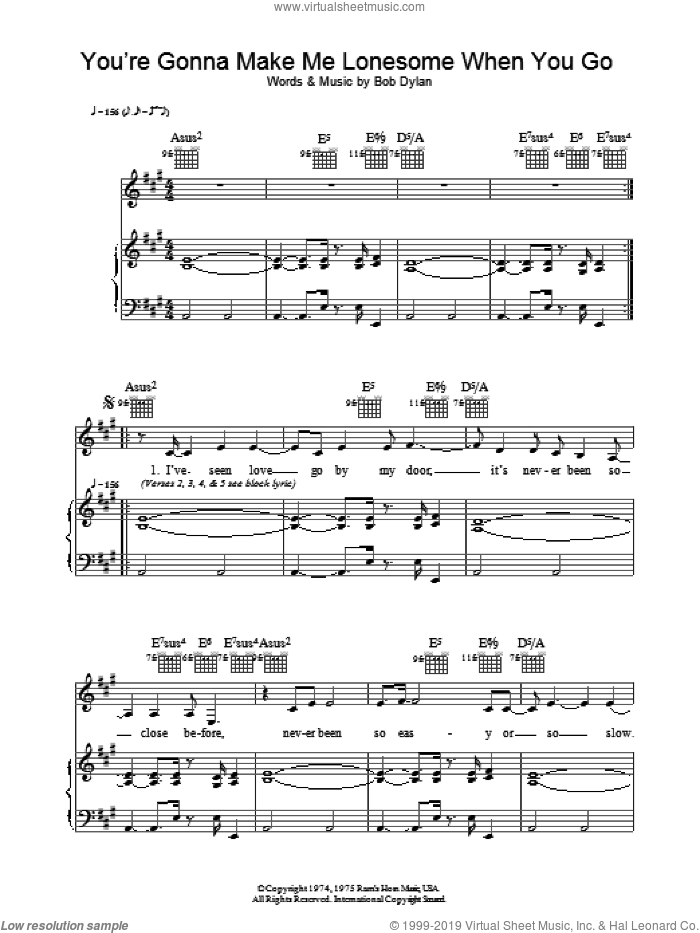 You're Gonna Make Me Lonesome When You Go sheet music for voice, piano or guitar by Madeleine Peyroux and Bob Dylan