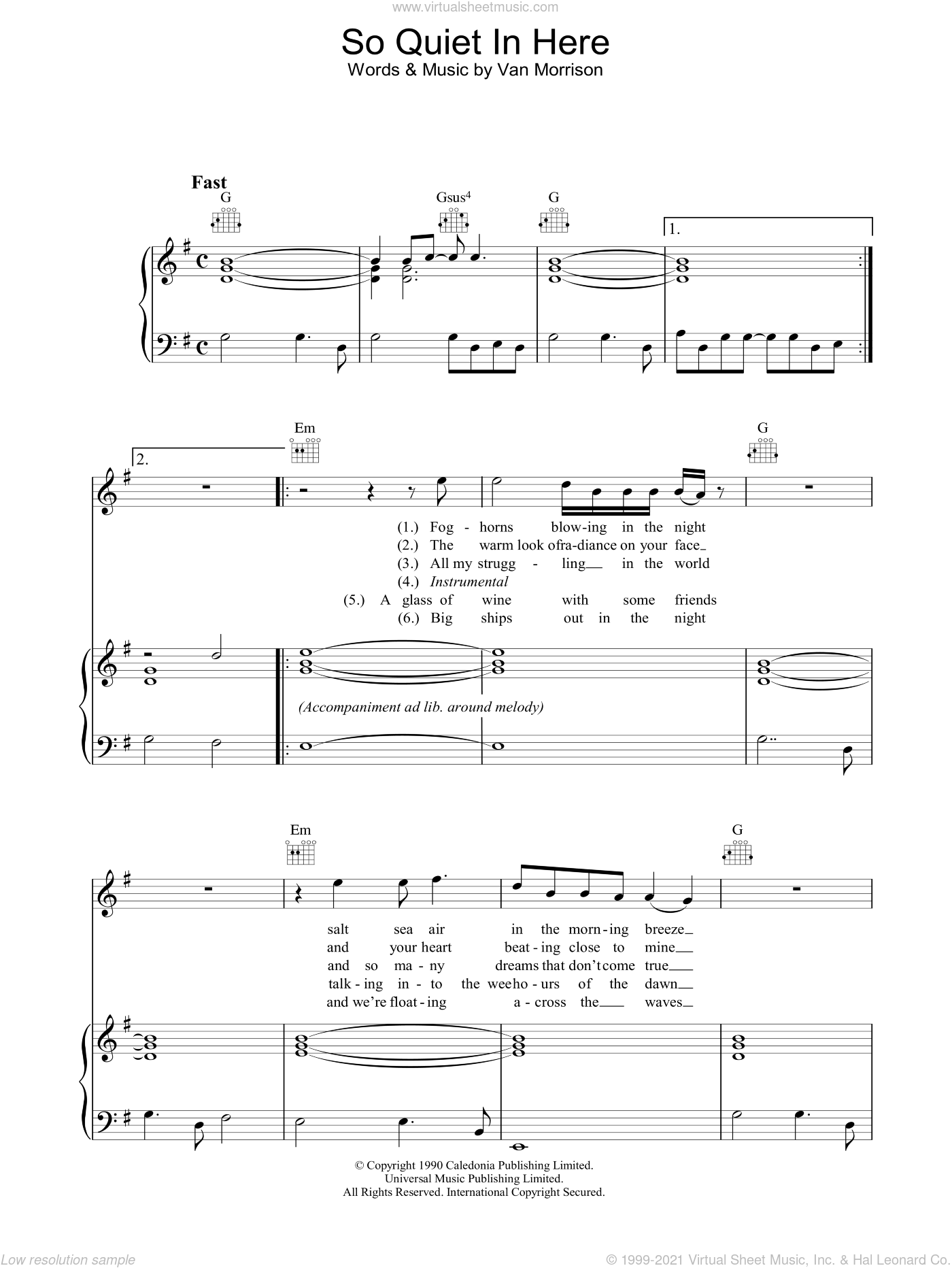 So Quiet In Here sheet music for voice, piano or guitar by Van Morrison, intermediate voice, piano or guitar. Score Image Preview.