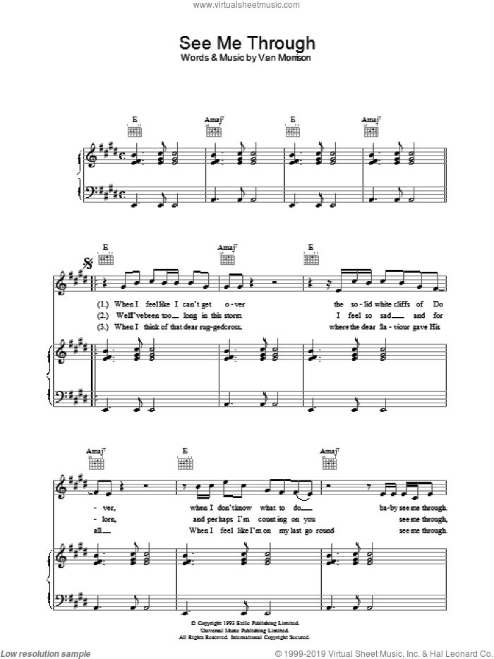 See Me Through sheet music for voice, piano or guitar by Van Morrison, intermediate