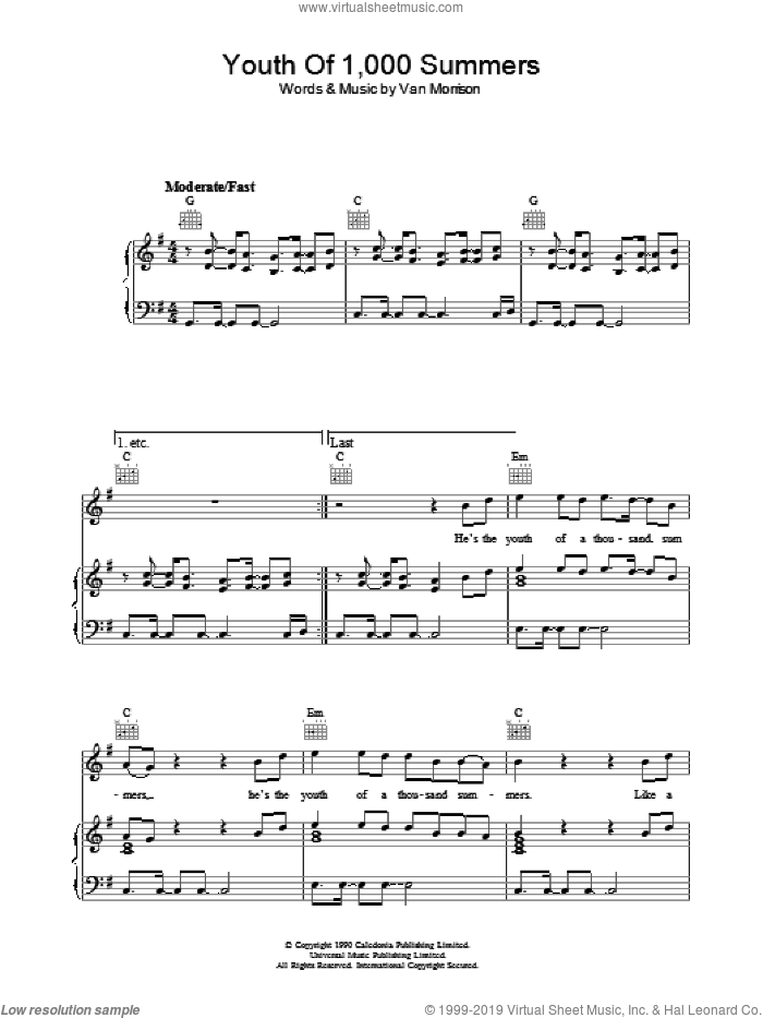 Youth Of 1000 Summers sheet music for voice, piano or guitar by Van Morrison. Score Image Preview.