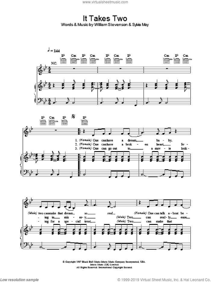It Takes Two sheet music for voice, piano or guitar by William Stevenson, Marvin Gaye and Sylvia Moy. Score Image Preview.