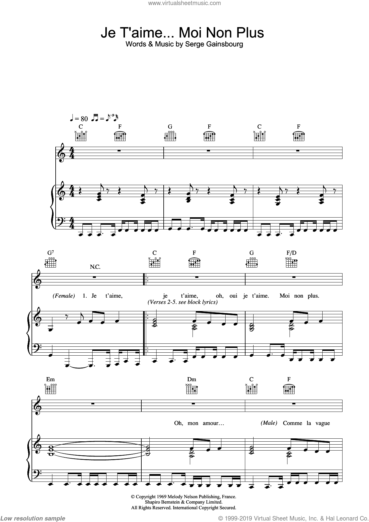 Je t'aime... moi non plus sheet music for voice, piano or guitar by Jane Birkin and Serge Gainsbourg, intermediate. Score Image Preview.