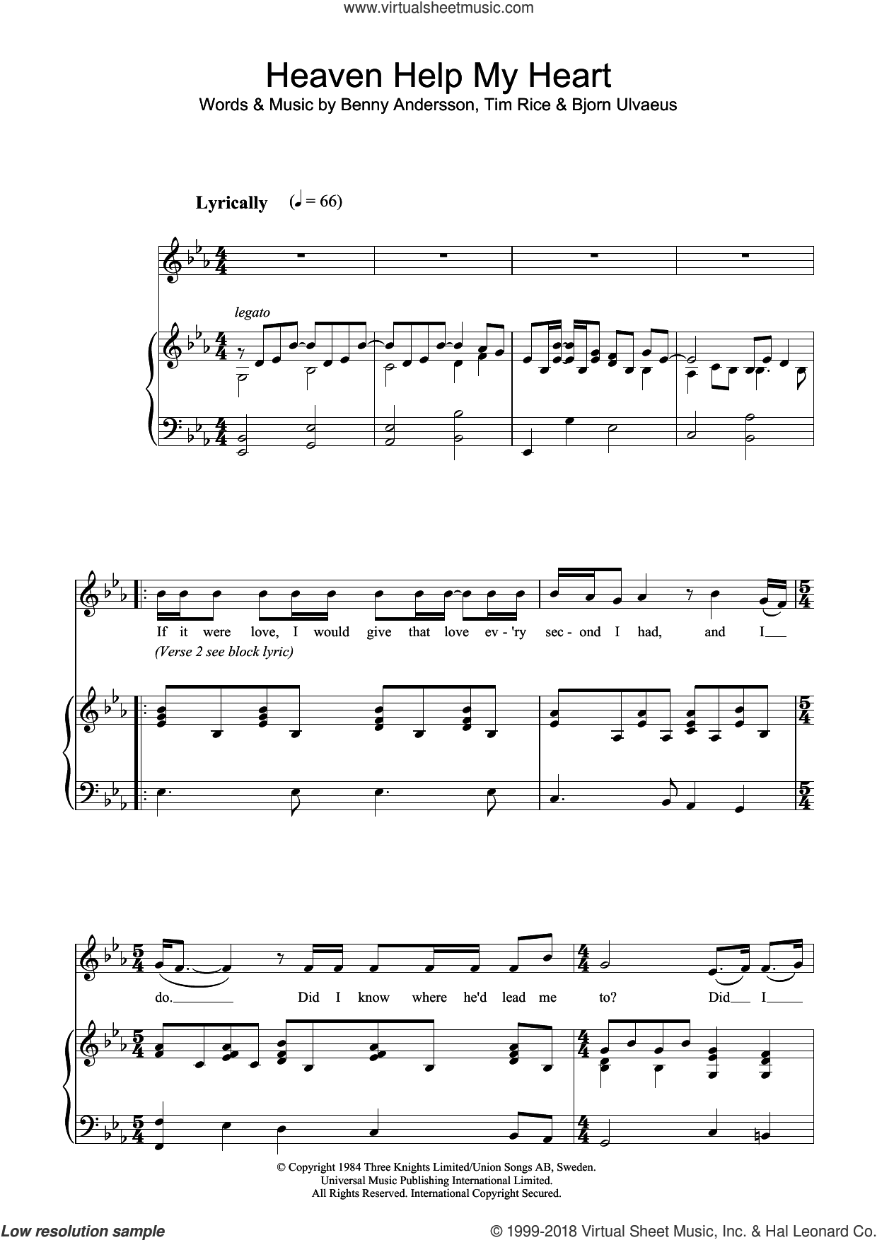 Heaven Help My Heart sheet music for voice, piano or guitar by Bjorn Ulvaeus, Benny Andersson and Tim Rice. Score Image Preview.