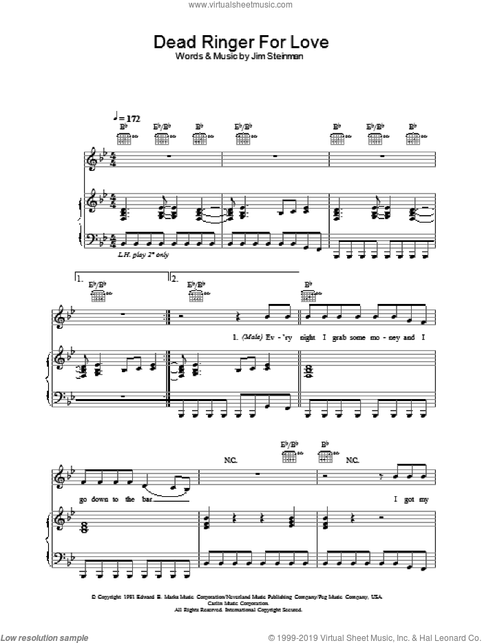 Dead Ringer For Love sheet music for voice, piano or guitar by Meat Loaf, Cher and Jim Steinman, intermediate voice, piano or guitar. Score Image Preview.