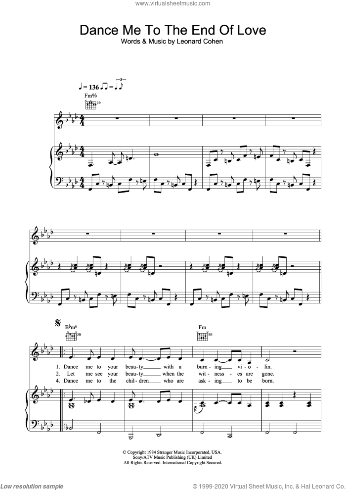 Dance Me To The End Of Love sheet music for voice, piano or guitar by Leonard Cohen