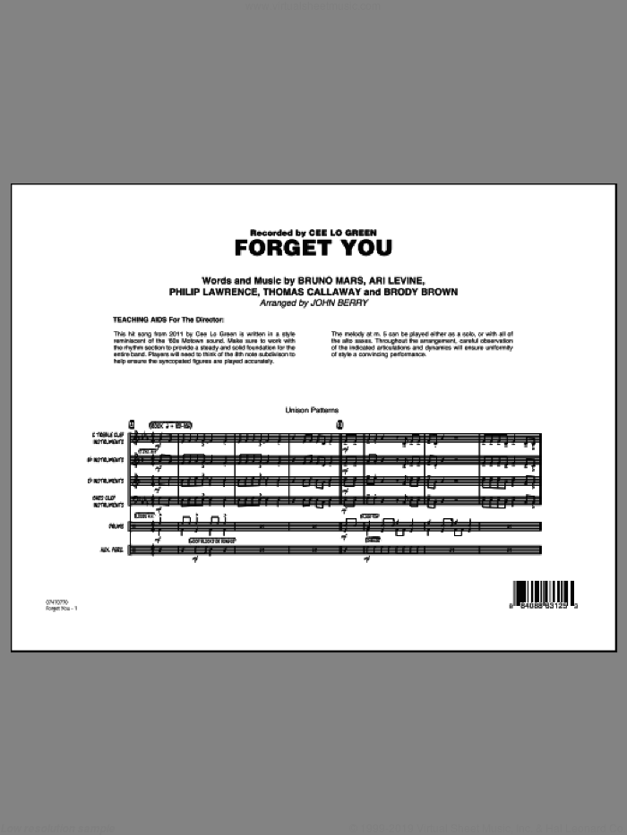 Forget You (COMPLETE) sheet music for jazz band by Bruno Mars, Ari Levine, Brody Brown, Philip Lawrence, Thomas Callaway, Cee Lo Green and John Berry, intermediate. Score Image Preview.