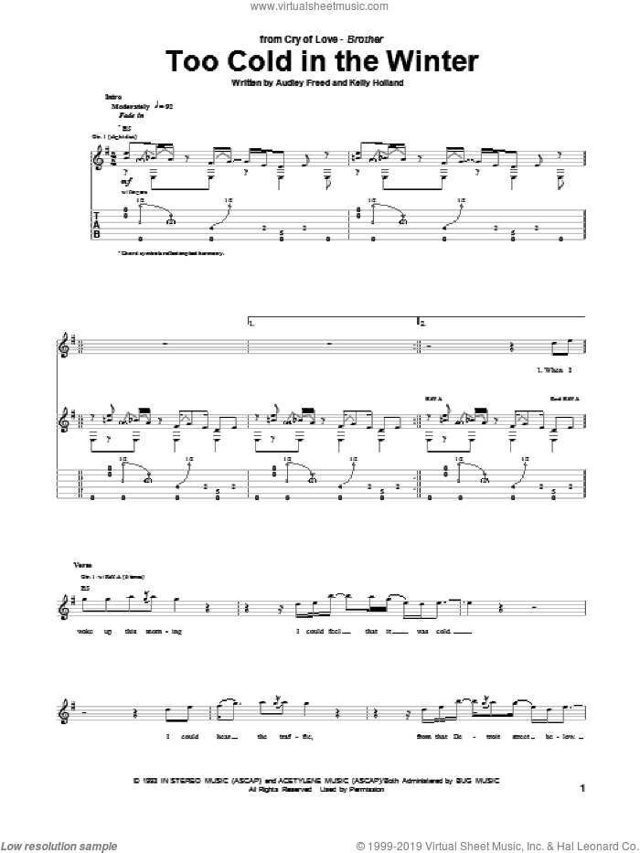 Too Cold In The Winter sheet music for guitar (tablature) by Kelly Holland and Audley Freed. Score Image Preview.