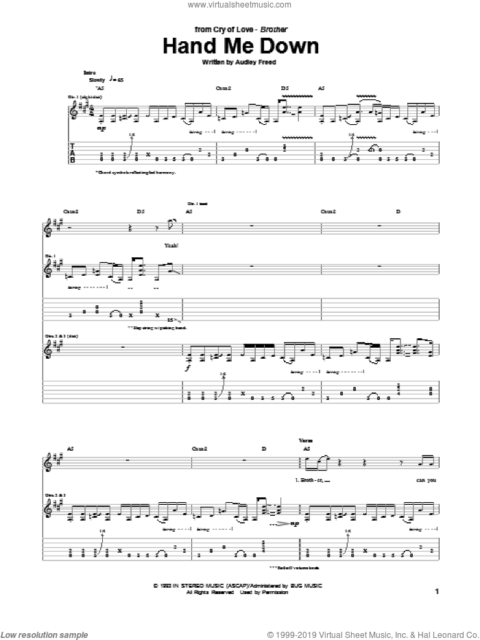 Hand Me Down sheet music for guitar (tablature) by Audley Freed. Score Image Preview.