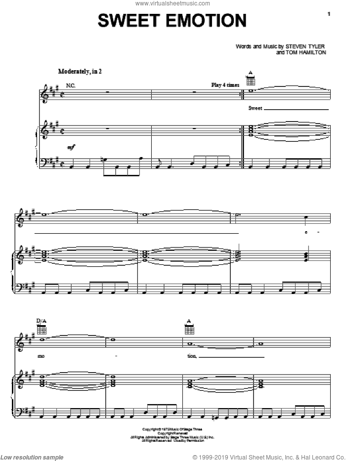 Sweet Emotion sheet music for voice, piano or guitar by Aerosmith, Steven Tyler and Tom Hamilton, intermediate skill level