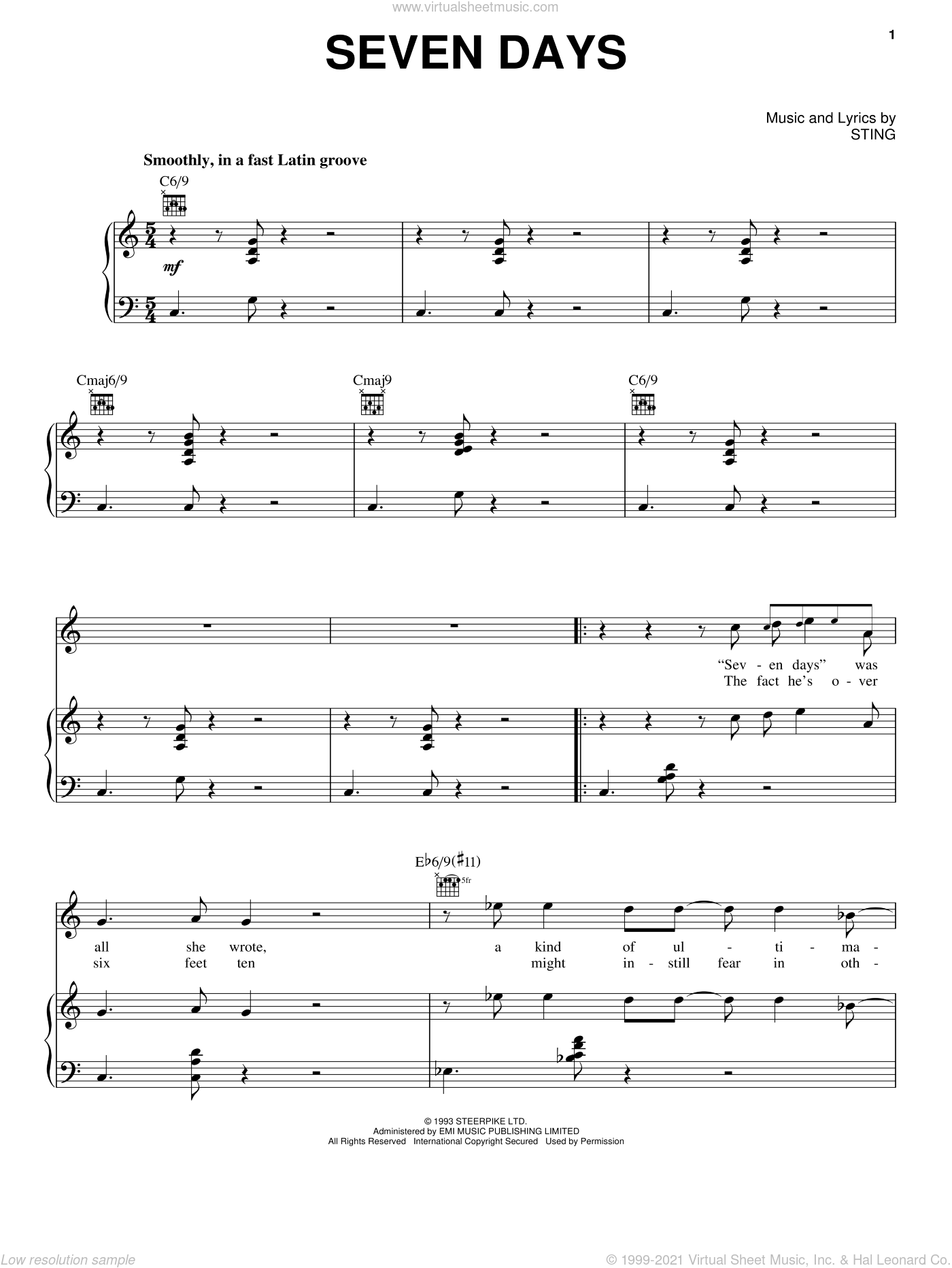 Seven Days sheet music for voice, piano or guitar by Sting, intermediate skill level