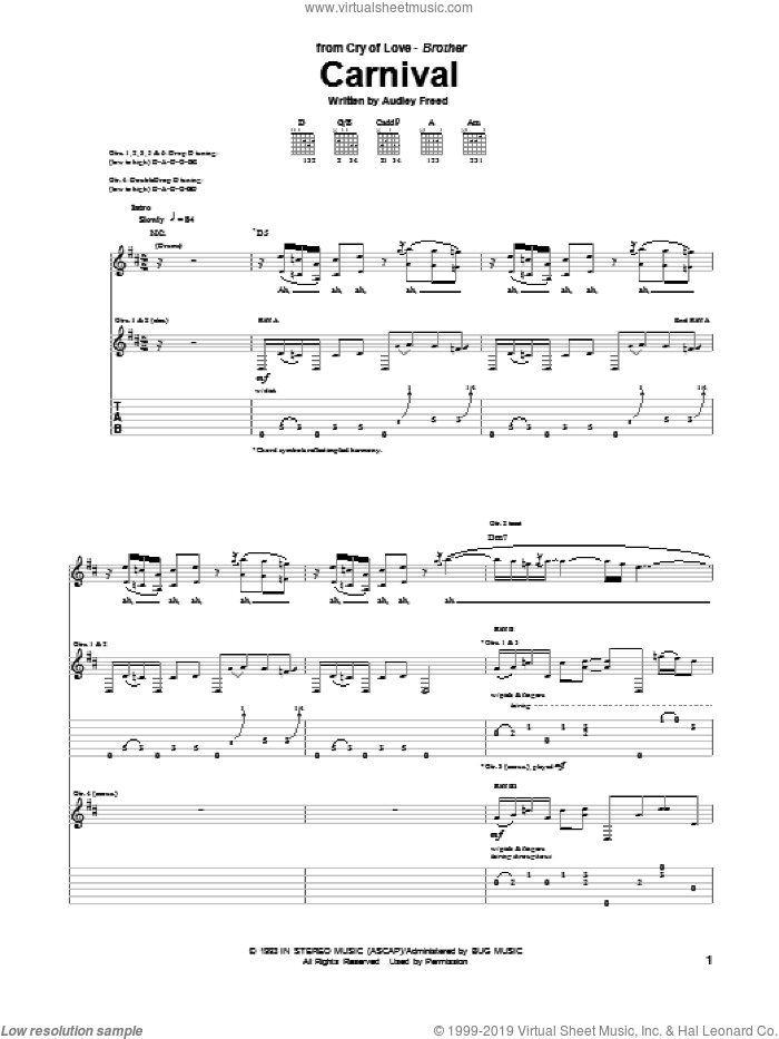 Carnival sheet music for guitar (tablature) by Cry Of Love. Score Image Preview.