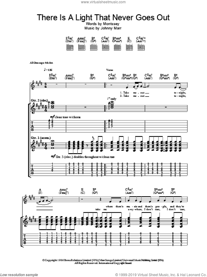 There Is A Light That Never Goes Out sheet music for guitar (tablature) by The Smiths, Johnny Marr and Steven Morrissey. Score Image Preview.