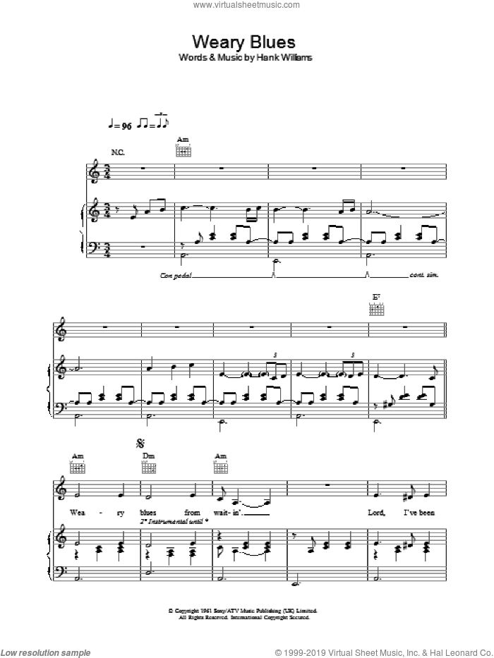 Weary Blues sheet music for voice, piano or guitar by Madeleine Peyroux and Hank Williams, intermediate voice, piano or guitar. Score Image Preview.