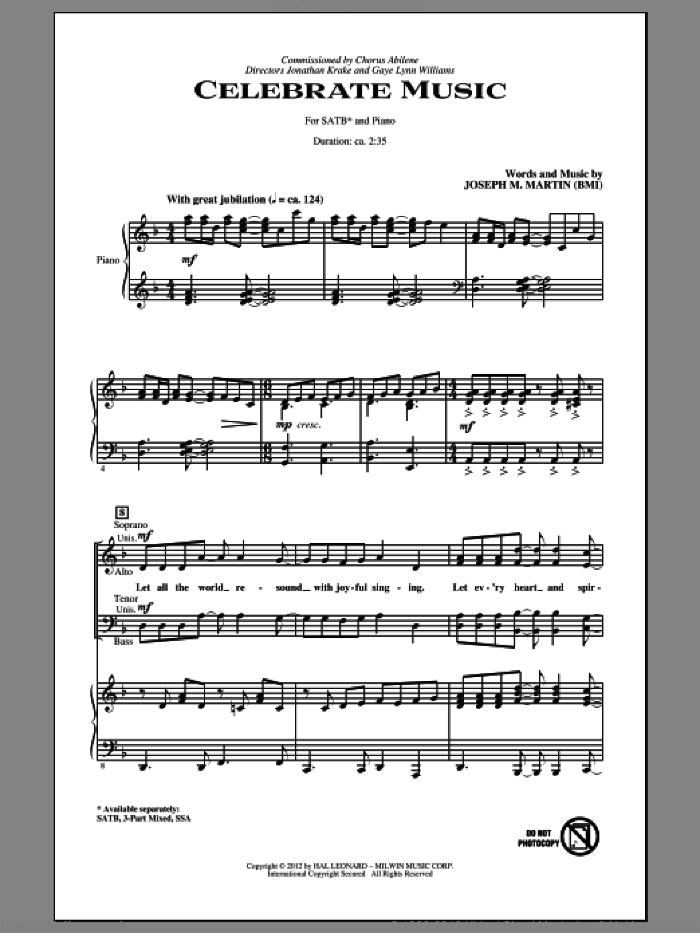 Celebrate Music sheet music for choir (SATB: soprano, alto, tenor, bass) by Joseph M. Martin, intermediate skill level