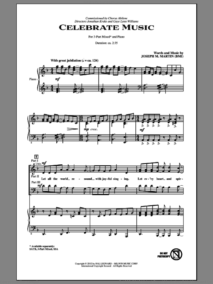 Celebrate Music sheet music for choir (3-Part Mixed) by Joseph M. Martin, intermediate. Score Image Preview.
