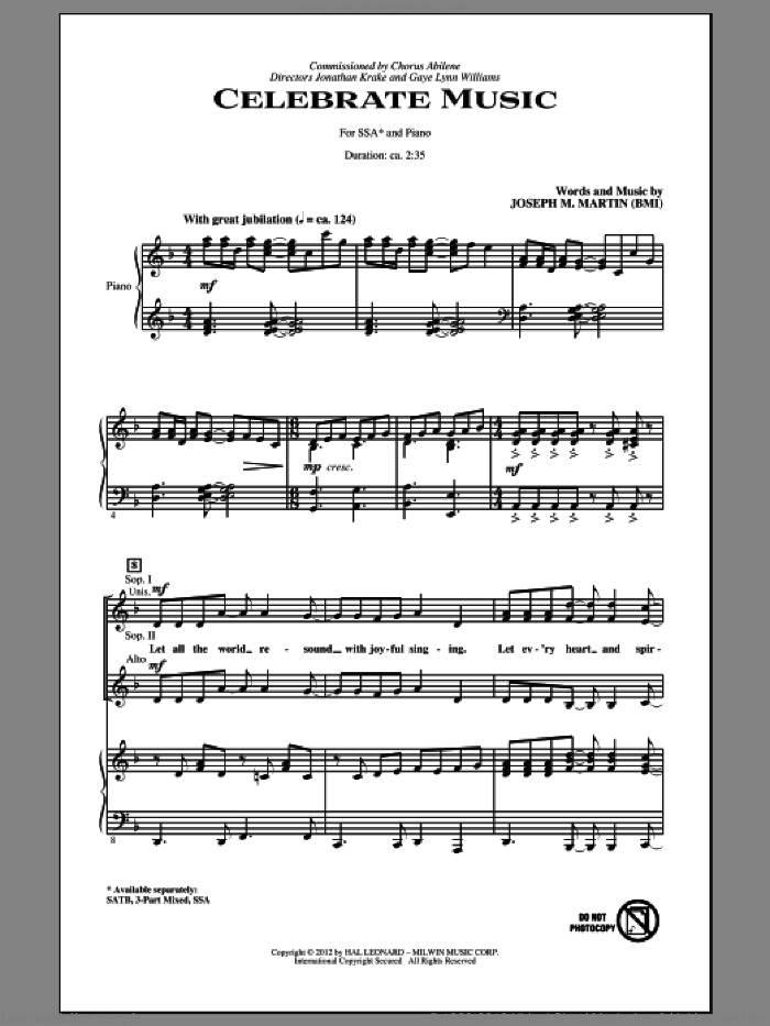 Celebrate Music sheet music for choir and piano (SSA) by Joseph M. Martin. Score Image Preview.