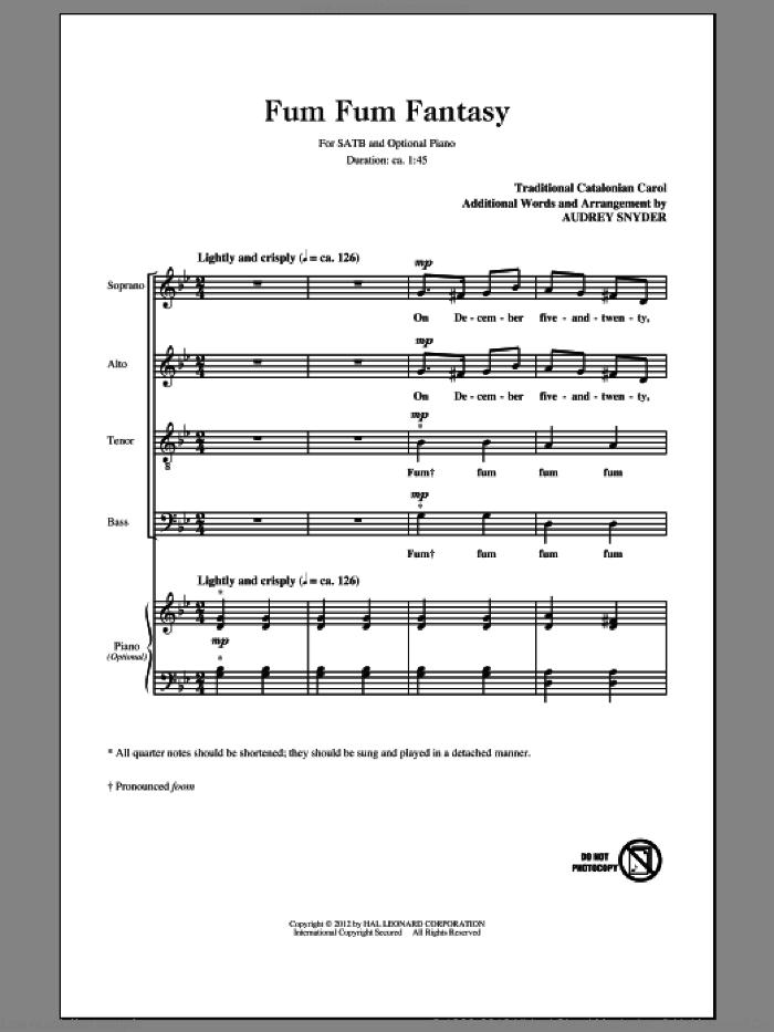 Fum, Fum, Fum sheet music for choir (SATB: soprano, alto, tenor, bass) by Audrey Snyder and Miscellaneous, intermediate skill level