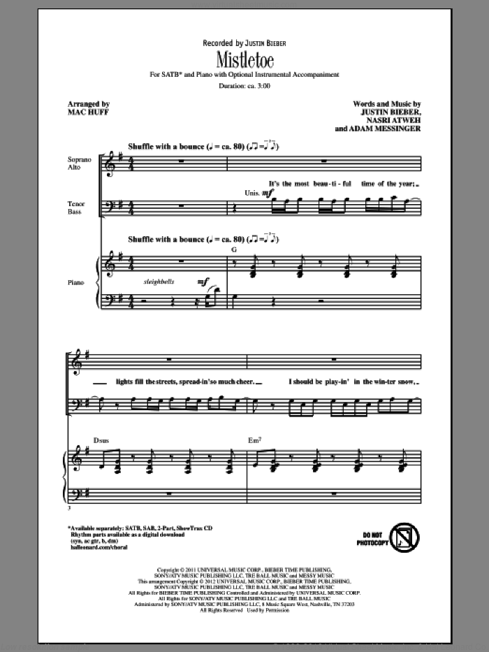 Mistletoe sheet music for choir (SATB) by Justin Bieber and Mac Huff