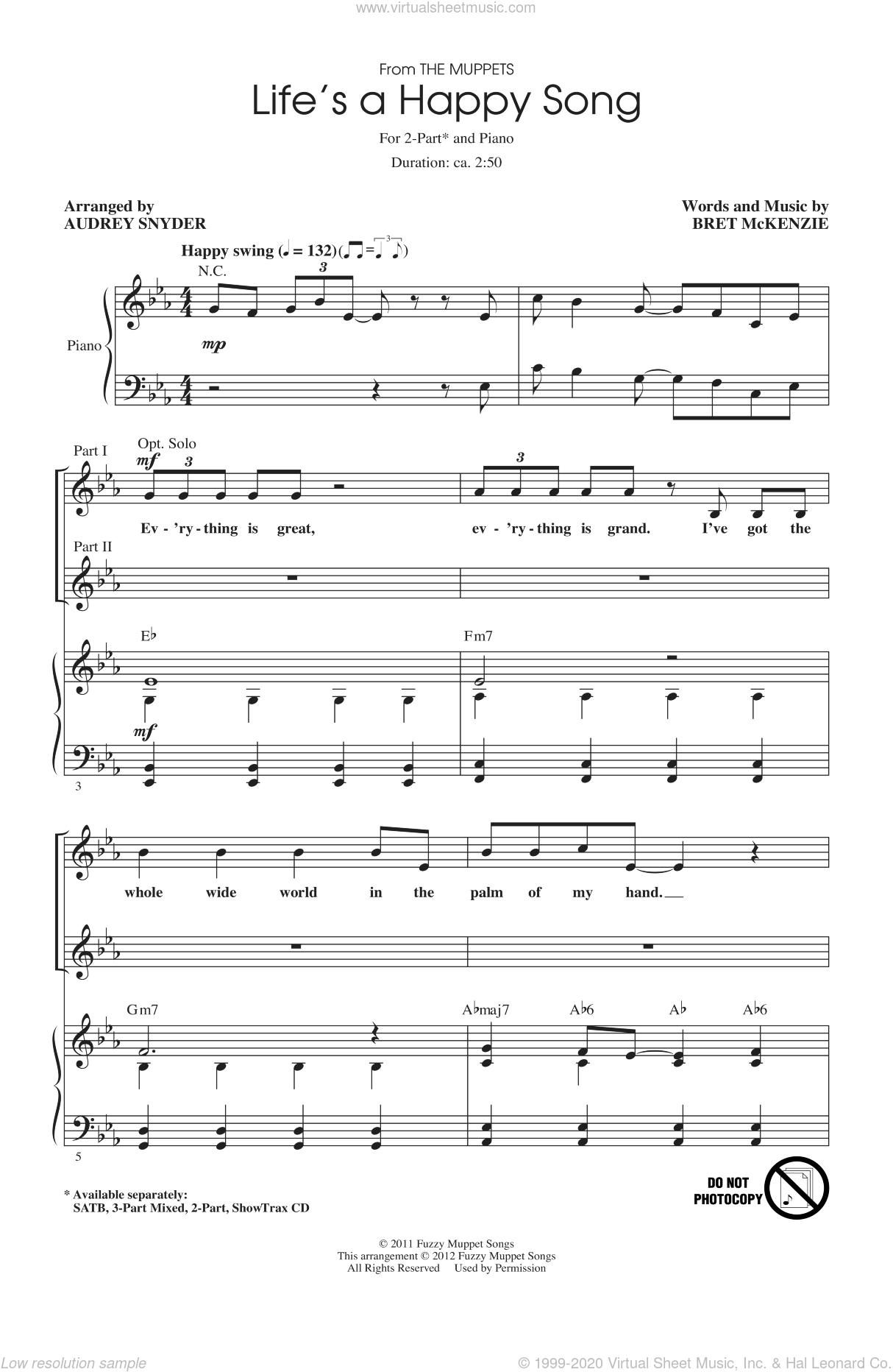 Life's A Happy Song sheet music for choir and piano (duets) by Bret McKenzie, Audrey Snyder and The Muppets. Score Image Preview.