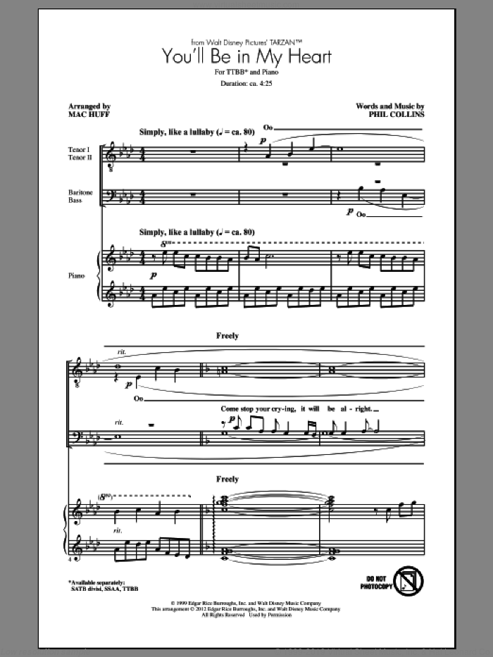 You'll Be In My Heart sheet music for choir and piano (TTBB) by Mac Huff