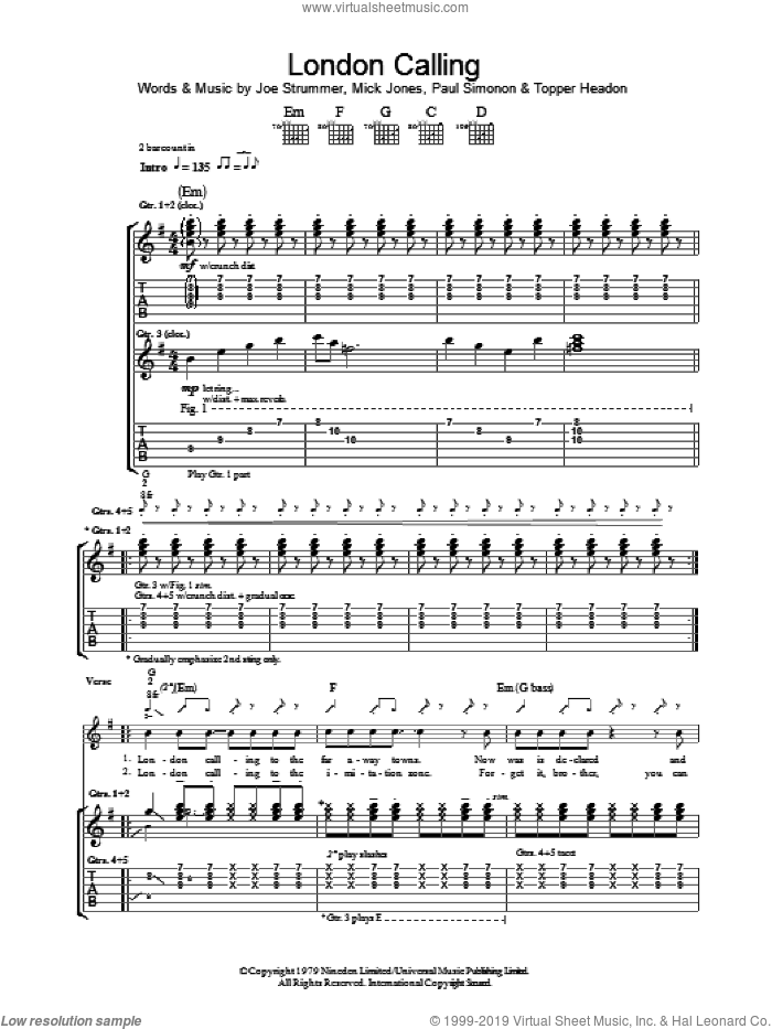 London Calling sheet music for guitar (tablature) by Topper Headon, The Clash, Joe Strummer, Mick Jones and Paul Simonon. Score Image Preview.