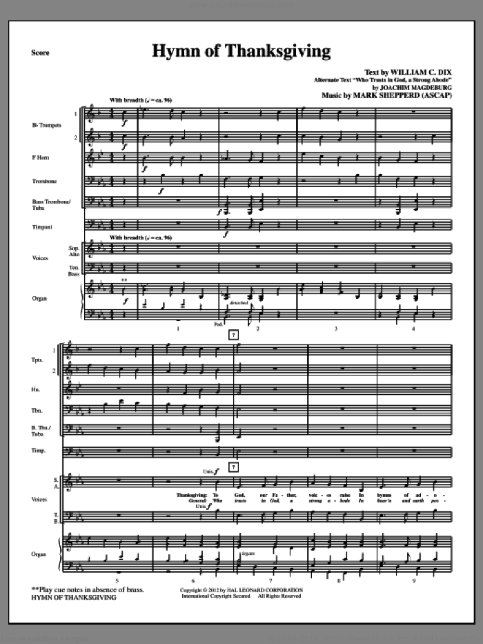 Hymn Of Thanksgiving sheet music for orchestra/band (Brass) by Mark Shepperd