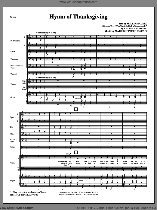 Hymn Of Thanksgiving (COMPLETE) sheet music for orchestra by Mark Shepperd