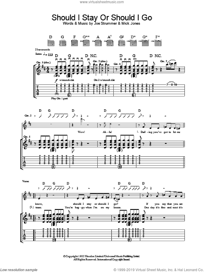 Should I Stay Or Should I Go sheet music for guitar (tablature) by The Clash, Joe Strummer and Mick Jones, intermediate skill level
