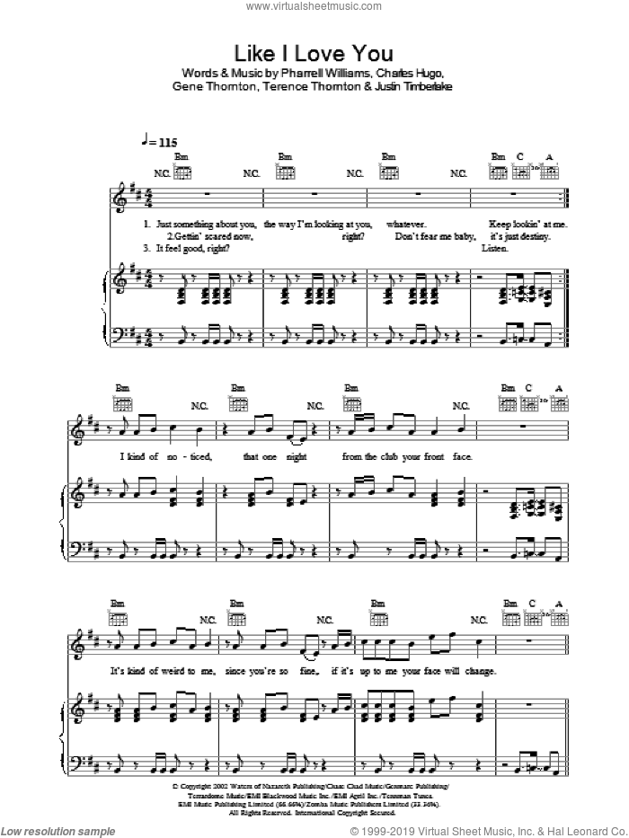 Like I Love You sheet music for voice, piano or guitar by Justin Timberlake and Pharrell Williams, intermediate. Score Image Preview.