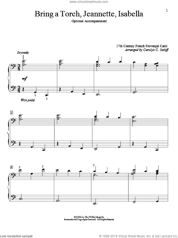 Bring A Torch, Jeannette Isabella sheet music for piano four hands (duets) by Carolyn C. Setliff and Miscellaneous. Score Image Preview.
