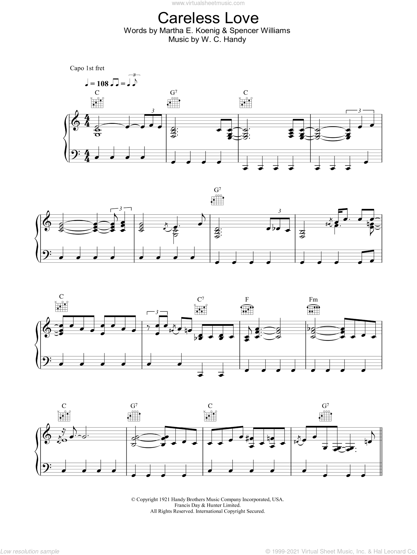 Careless Love sheet music for voice, piano or guitar by Madeleine Peyroux, Martha E. Koenig, Spencer Williams and W.C. Handy, intermediate skill level