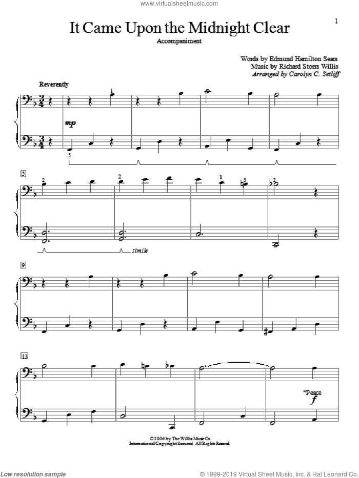 It Came Upon The Midnight Clear sheet music for piano four hands by Edmund Hamilton Sears and Carolyn C. Setliff, intermediate skill level
