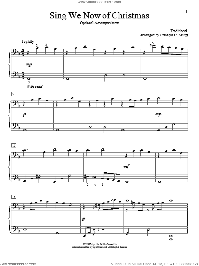 Sing We Now Of Christmas sheet music for piano four hands  and Carolyn C. Setliff, intermediate skill level