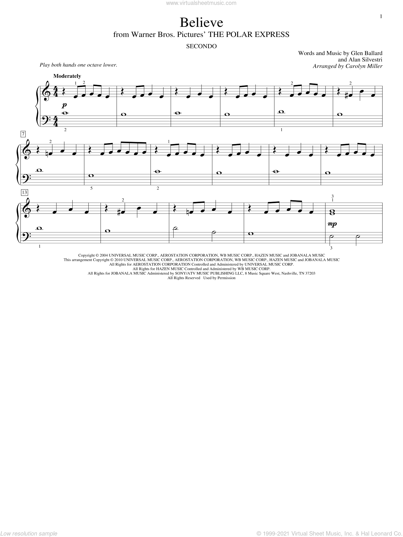 Believe sheet music for piano four hands (duets) by Glen Ballard, Carolyn Miller, John Thompson, Alan Silvestri and Josh Groban. Score Image Preview.