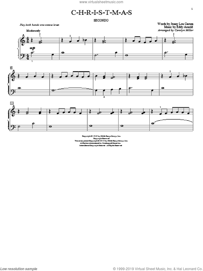C-H-R-I-S-T-M-A-S sheet music for piano four hands by Eddy Arnold, Carolyn Miller, John Thompson and Jenny Lou Carson, intermediate