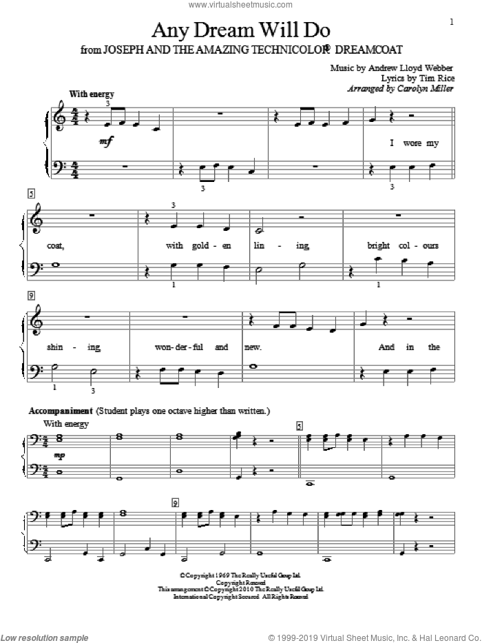 Any Dream Will Do sheet music for piano solo (elementary) by Andrew Lloyd Webber, Carolyn Miller, Joseph And The Amazing Technicolor Dreamcoat (Musical) and Tim Rice, beginner piano (elementary)