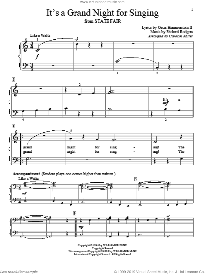 It's A Grand Night For Singing sheet music for piano solo (elementary) by Rodgers & Hammerstein, Carolyn Miller, Oscar II Hammerstein and Richard Rodgers, beginner piano (elementary). Score Image Preview.