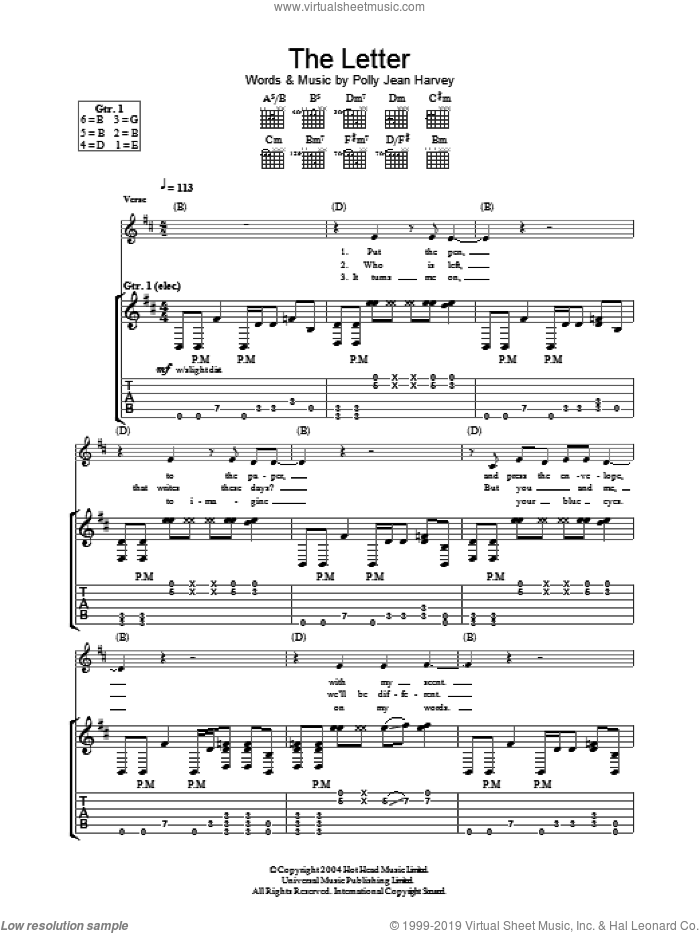 The Letter sheet music for guitar (tablature) by Polly Jean Harvey. Score Image Preview.