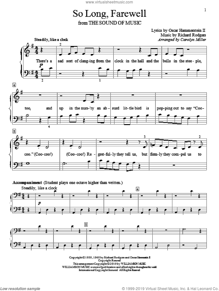 So Long, Farewell sheet music for piano solo (elementary) by Rodgers & Hammerstein, The Sound Of Music (Musical), Carolyn Miller, Oscar II Hammerstein and Richard Rodgers, beginner piano (elementary)