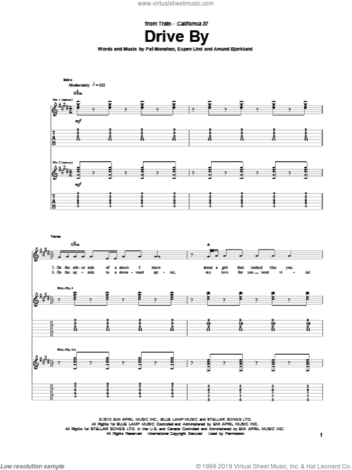 Drive By sheet music for guitar (tablature) by Pat Monahan