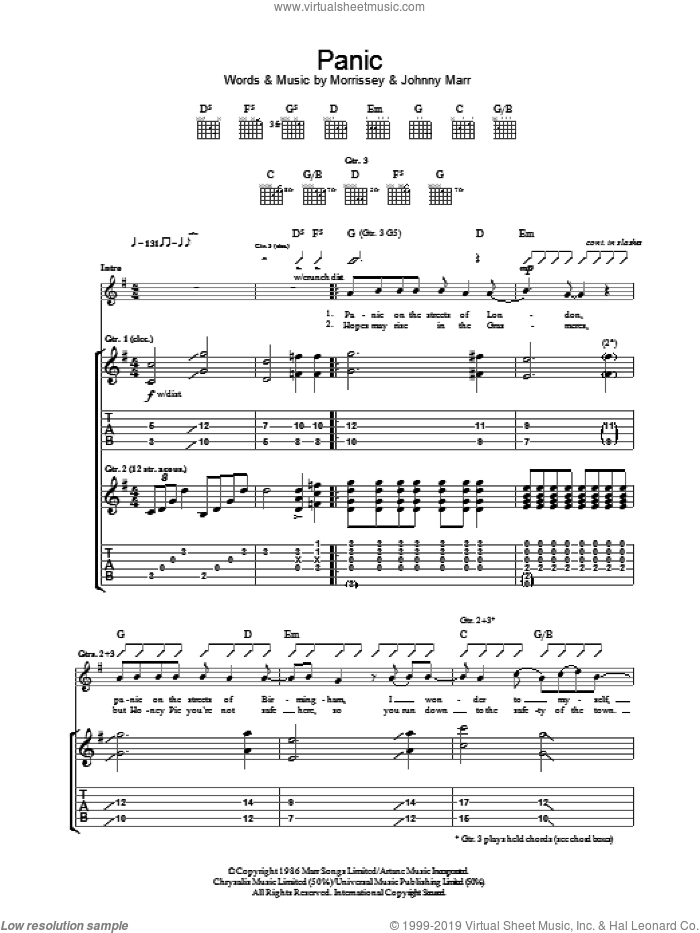 Panic sheet music for guitar (tablature) by The Smiths, Johnny Marr and Steven Morrissey, intermediate guitar (tablature). Score Image Preview.