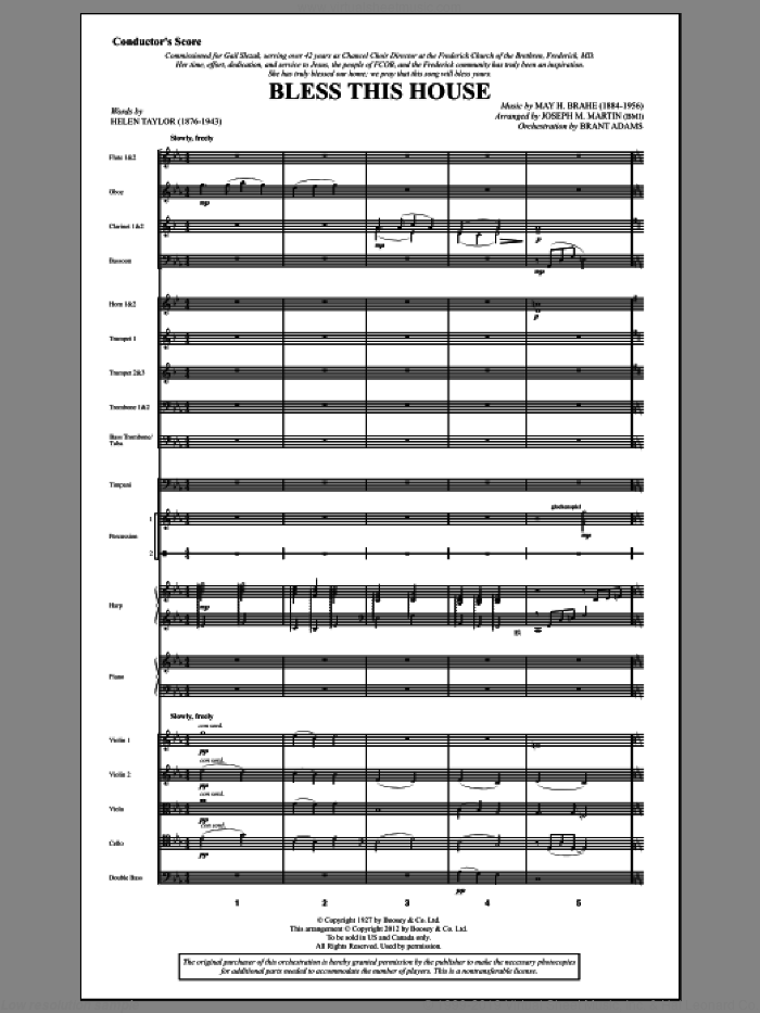Bless This House (complete set of parts) sheet music for orchestra/band (Orchestra) by Joseph M. Martin, Helen Taylor and May H. Brahe, intermediate skill level