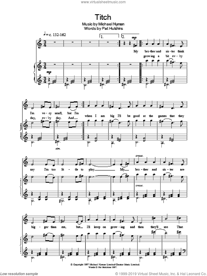 Titch sheet music for voice, piano or guitar by Pat Hutchins