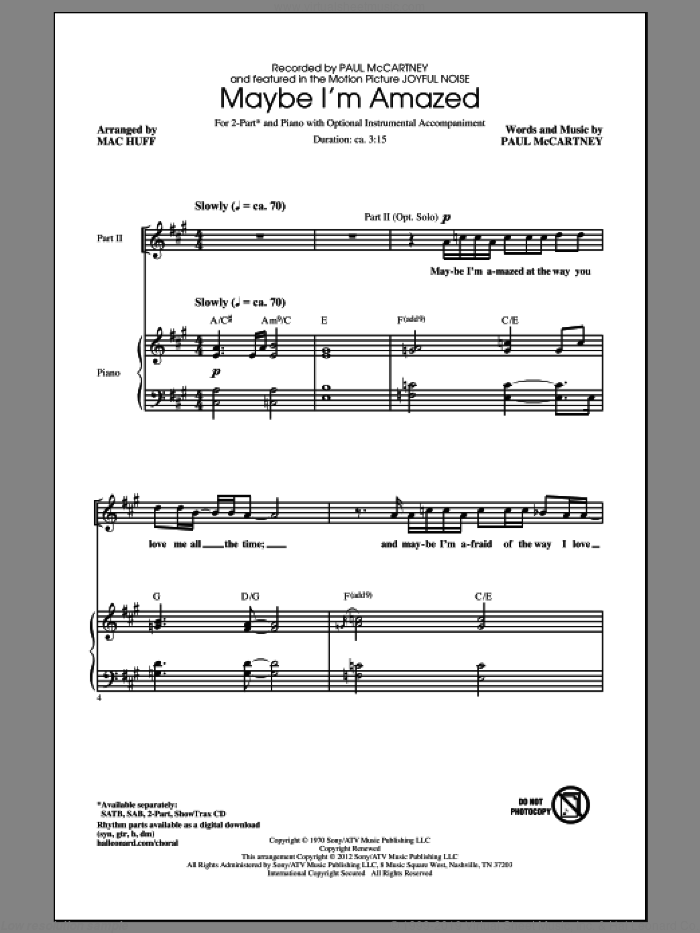 Maybe I'm Amazed sheet music for choir and piano (duets) by Mac Huff